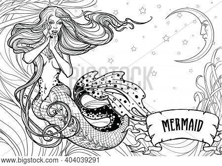 Beautiful Mermaid Girl Sitting Hand Drawn Artwork. Sensual And Dangerous Ocean Siren In Retro Style.
