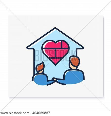 Homeschool Together Color Line Icon. Building Stronger Relationship. Online Education Concept. Dista