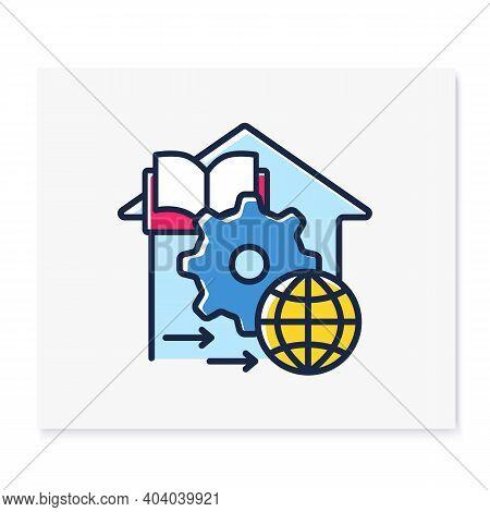 Adapt Teaching Methods Color Line Icon. Training Process Management. Home Education Concept. Distant