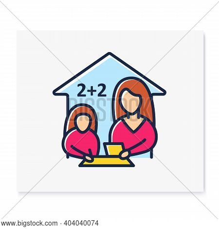 Mathematics Lesson Color Line Icon. Child Teaches Math With His Mother. Home Education Concept. Dist