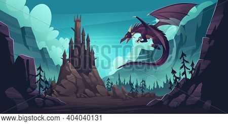 Black Spooky Castle And Flying Dragon In Canyon With Mountains And Forest. Vector Cartoon Fantasy Il