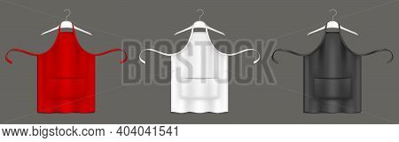 Chef Aprons, Black, Red And White Cook Uniform On Hangers 3d Vector Mockup. Kitchen Bibs Or Pinafore