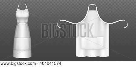 White Chef Apron With Pocket, Belt And Straps Isolated On Transparent Background. Vector Realistic M