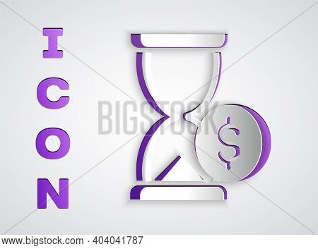 Paper Cut Hourglass With Dollar Icon Isolated On Grey Background. Money Time. Sandglass And Money. G