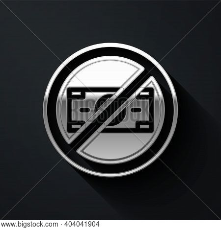 Silver No Money Icon Isolated On Black Background. Prohibition Of Money. Long Shadow Style. Vector