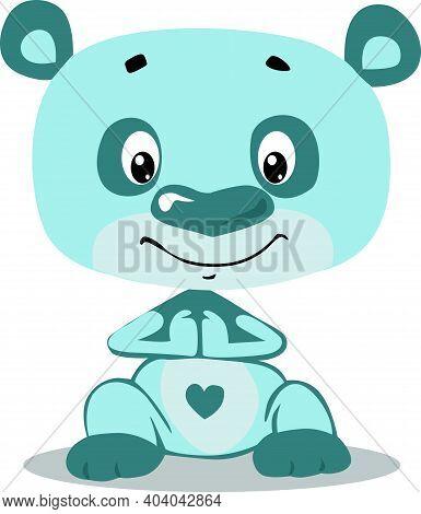 Cute Turquoise Blu Teddy  Bear Cartoon Character - Vector Illustration