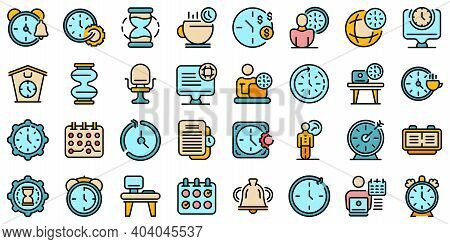 Flexible Working Hours Icons Set. Outline Set Of Flexible Working Hours Vector Icons Thin Line Color