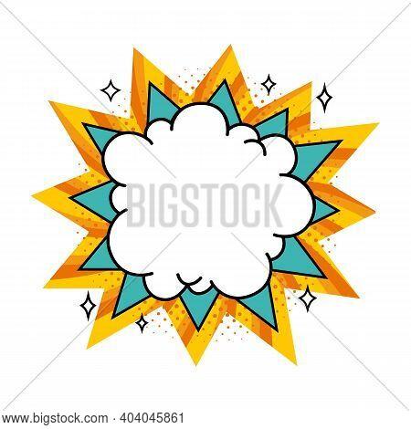 Comic Boom Balloon. Empty Turquoise And Orange Bang Speech Bubble In Pop Art Style. Vector Illustrat
