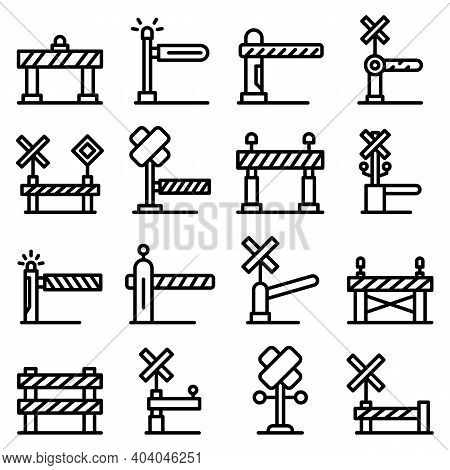 Railroad Barrier Icons Set. Outline Set Of Railroad Barrier Vector Icons For Web Design Isolated On