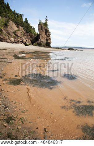 Brown Color Sea Water On A Beach Of Hopewell Rocks Ocean Tidal (new Brunswick, Canada).