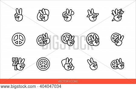 Peace Sign Hand With Fingers And Pacific Sign, International Symbol Of Peace, Disarmament, Antiwar M