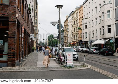Berlin, Germany - July 30, 2019: Street Scene In Steinstrasse, A Trendy Shopping Area In Central Ber