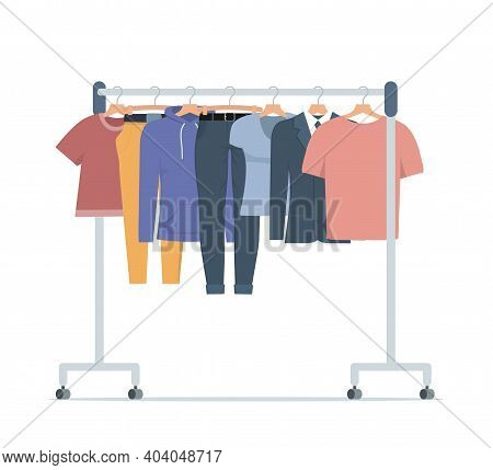 Clothes Hanger With Different Casual Man And Woman Clothes. Casual Seasonal Clothes. Boutique, Assor