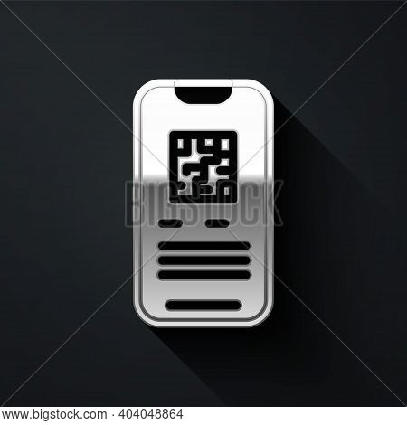 Silver Online Ticket Booking And Buying App Interface Icon Isolated On Black Background. E-tickets O