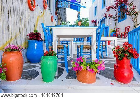 Kos Island, Kos Town, Greece - May 17, 2016: Traditional Greek Restaurant (tavern), Decorated With F