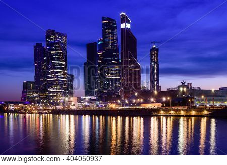 Moscow, Russia - April 29, 2018: Moscow City (moscow International Business Center) And Moscow River