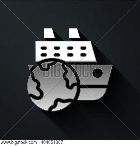 Silver Cruise Ship Icon Isolated On Black Background. Travel Tourism Nautical Transport. Voyage Pass
