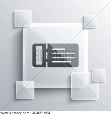 Grey Cruise Ticket For Traveling By Ship Icon Isolated On Grey Background. Travel By Cruise Liner. C
