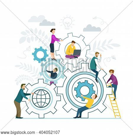 Vector Illustration In Flat Design Style. Teamwork. People Put Together Puzzle Pieces. Business Team