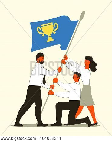 Vector Illustration Of People Raising The Flag. The Concept Of Business Growth, Teamwork, Goal Achie