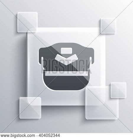 Grey Pilot Hat Icon Isolated On Grey Background. Square Glass Panels. Vector