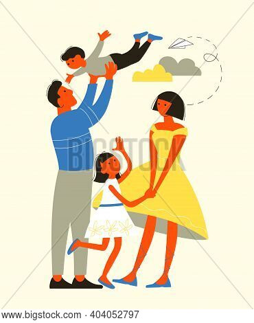 Vector Illustration. Happy Family. Mom, Dad, Daughter And Son. Love And Family Idyll Concept.