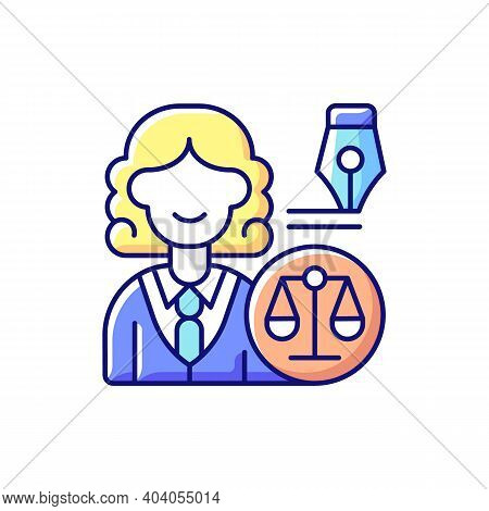 Law Department Rgb Color Icon. Dealing With Legal Affairs. Ensuring Company Legality And Compliance