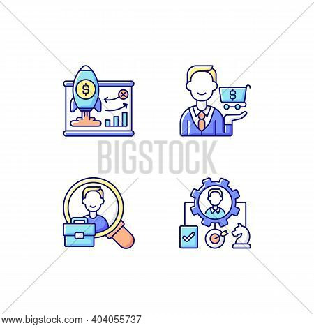 Corporate Structure Rgb Color Icons Set. Business Model. Buying Goods And Products. Organization Wor