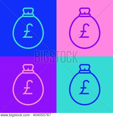 Pop Art Line Money Bag With Pound Icon Isolated On Color Background. Pound Gbp Currency Symbol. Vect