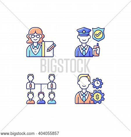 Corporation Hierarchy Rgb Color Icons Set. Secretary. Service Staff. Organic Company Structure. Fina