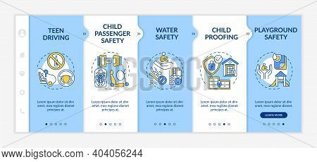 Kids Safety Onboarding Vector Template. Water Safety, Drowning Prevention. Child Proofing. Playgroun