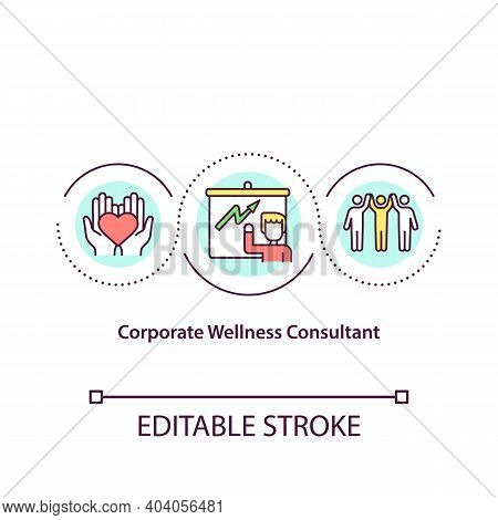 Corporate Wellness Consultant Concept Icon. Navigating Wellness Program Development. Health Promotio