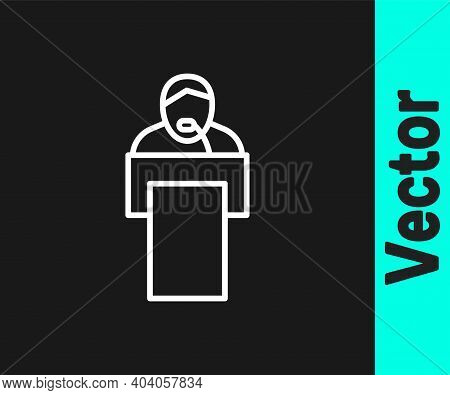 White Line Gives Lecture Icon Isolated On Black Background. Stand Near Podium. Speak Into Microphone