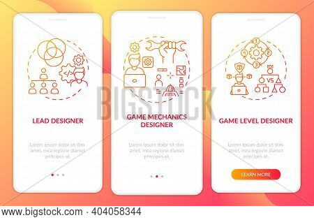 Game Designers Types Onboarding Mobile App Page Screen With Concepts. Game Level Designer On Project