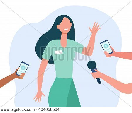 Journalists Interviewing Young Woman. Celebrity, Expert, Voice Recorder. Flat Vector Illustration. P