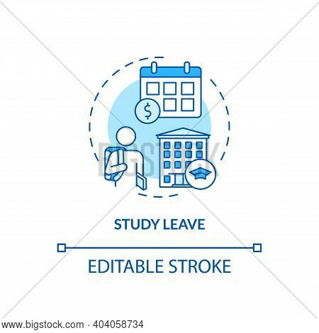 Study Leave Concept Icon. Paid Leave Idea Thin Line Illustration. Releasing From Duties Performance.