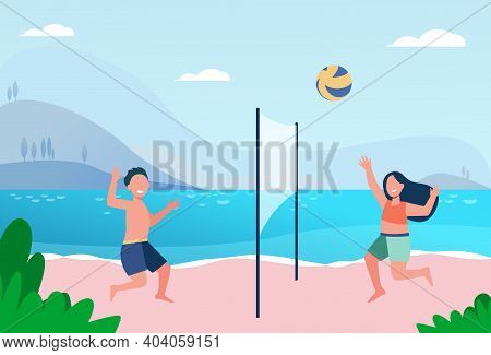 Kids Playing Beach Volleyball. Lake, Children At Seaside, Ball Game. Flat Vector Illustration. Summe