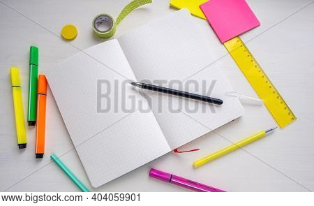 Open Blank Bullet Journal Planner With Dotted Pages With A Pen. Woman Planning And Organization Conc