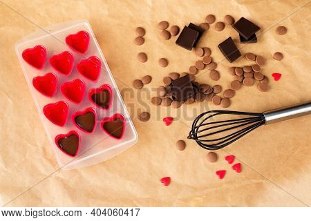 Handmade Valentines Day Dessert. Diy Making Chocolate Candy, Heart Shaped Mold. Chocolatier Sweet Sh