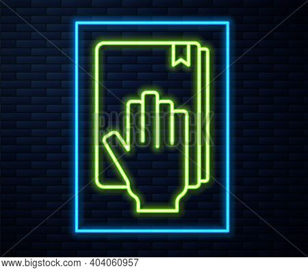Glowing Neon Line Oath On The Holy Bible Icon Isolated On Brick Wall Background. The Procedure In Co