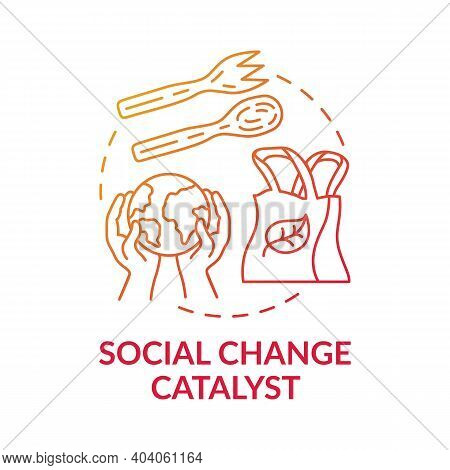Social Change Catalyst Concept Icon. Climate Change Idea Thin Line Illustration. Ecological Way Chan