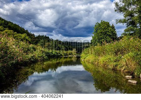 A Portrait Of A Part Of The Semois River In Vresse-sur-semois In The Belgian Ardennes. There Is A Mo