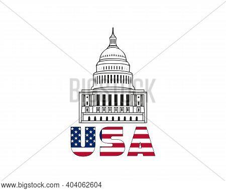Vector Icon Of United States Capitol Hill Building Washington Dc American Congress White Symbol Desi