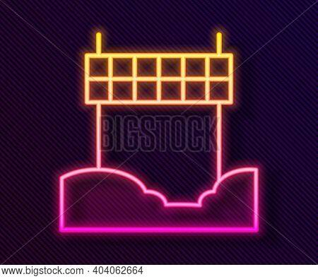 Glowing Neon Line Ribbon In Finishing Line Icon Isolated On Black Background. Symbol Of Finish Line.