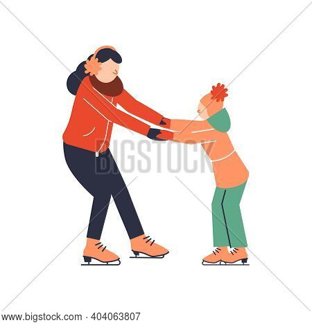 Family Sport Icon With Mum Teaching Daughter To Skate Flat Vector Illustration