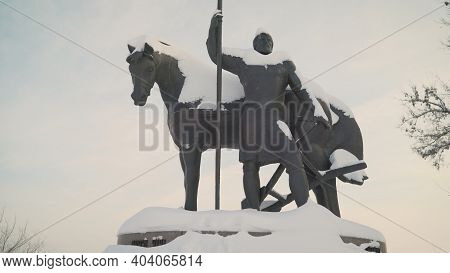 Russia. Penza. Tourist Overview Of The City. Monument To The Founder Of The City, The First Settler