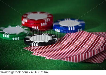 Scene Of Playing Cards, Chips, Gambling, Poker, Blackjack Or Texas Hold \'em In Las Vegas Or Casino
