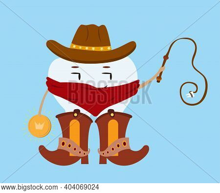 Tooth Fairy Cowboy. Character In A Cowboy Hat And Cowboy Boots Holds A Whip With A Tooth And A Spark