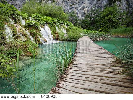 Wooden Walkways In Plitvice Lakes National Park In Croatia