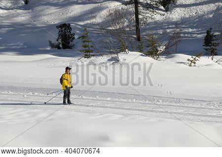 San Cassiano, Italy February 2009: Ski Slopes In Winter On Dolomite Alps. Alta Badia, South Tyrol In